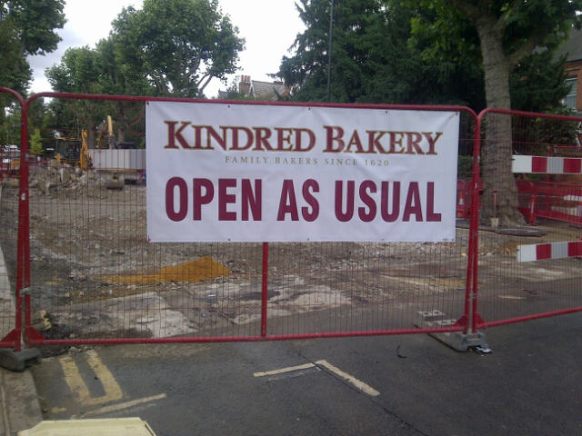Kindred Bakery - Half Moon Lane - Open as usual  (S Badman)