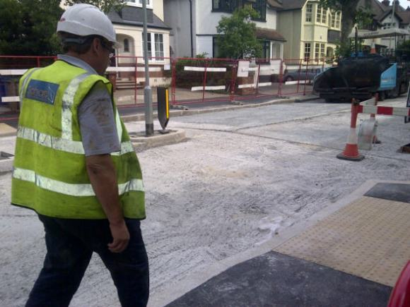 Tarmac being relaid in Half Moon Lane 23rd August