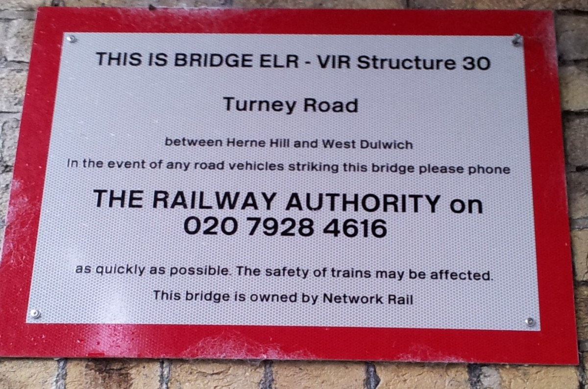 Official railway Bridge sign in Turney Road