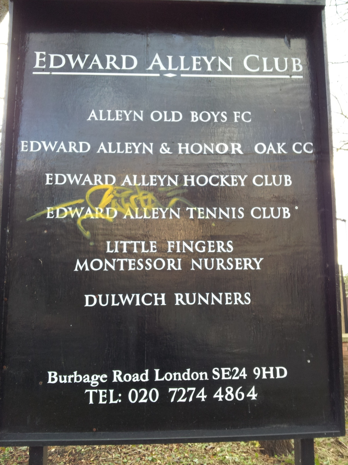 Edward Alleyn Club noticeboard