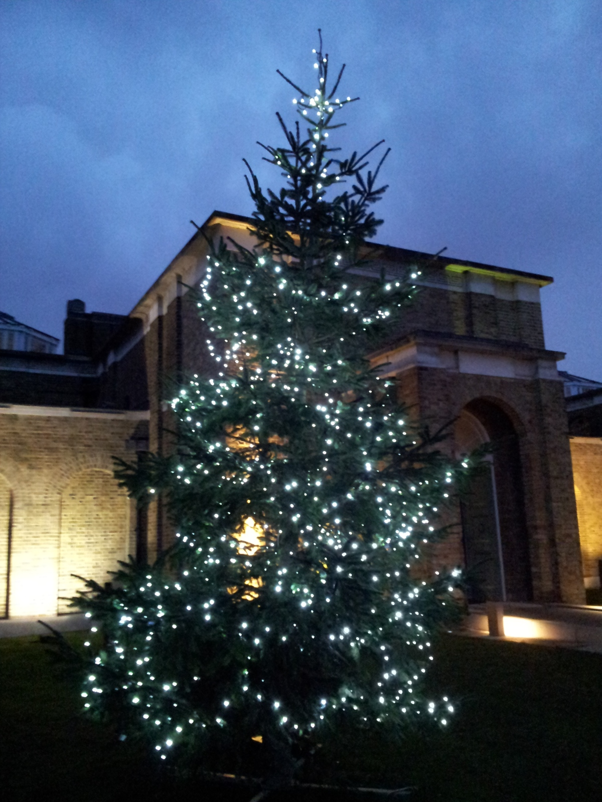Christmas tree at Dulwich Gallery against the sky