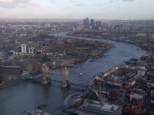 Tower Bridge, Thames and Canary Wharf from the Shard.