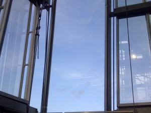 Open to the elements on the top floor of the Shard.