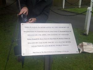 Burbage WWII memorial plaque