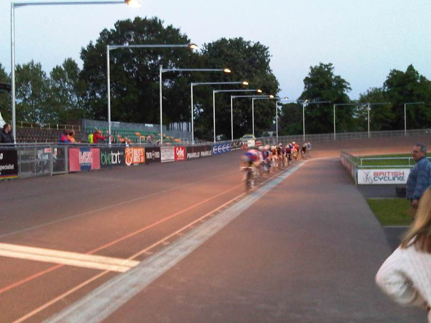 Cyclists under the lighting at the Herne Hill Velodrome