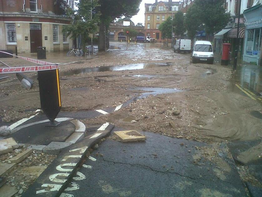 Flooding in Herne Hill - Aftermath in Half Moon Lane