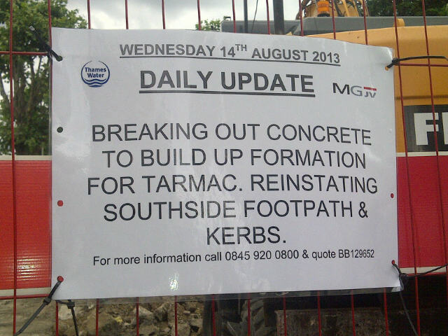 Daily Update on Half Moon Lane 13th August 2013