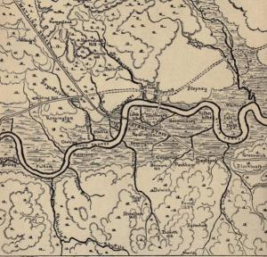 Londnn map (undated) before houses built showing River Effra